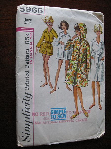 892a4af442 Vintage 60s Simplicity 5965 Misses Robe Beach Dress Cover Up in Two Lengths  sz Small 10-12