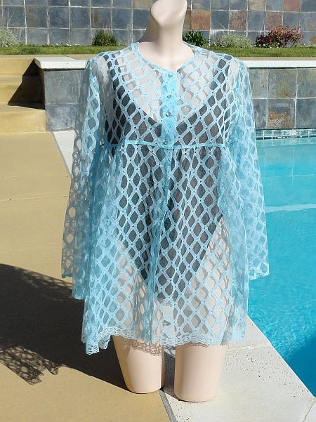 7d3e323ac5 SOLD - Vintage 1960s Catalina Light Blue Lace Baby Doll Cover Up size L