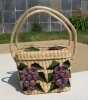 Vintage Raffia Beach Tote Beach Bag with Grapes