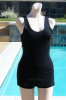 Vintage late 20s early 30s UNISEX Black Wool Swimsuit M/L B 40