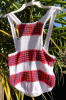 Vintage Popcorn Knit Childs Romper Swimsuit Sunsuit size XS S