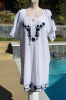 Mango Reef Mexican Style Embroidered Cotton Cover Up Caftan One Size M/L