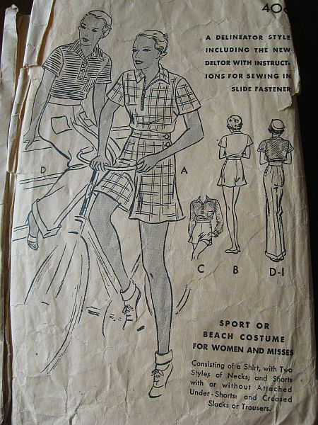 Vintage 1930s Butterick 5219 Sport or Beach Costume Pattern sz 14 B32