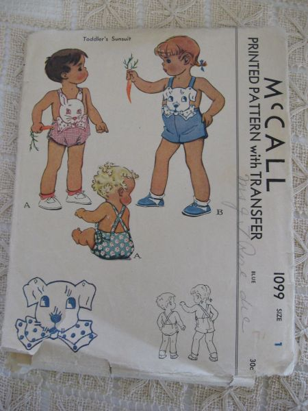 Vintage 1943 McCall Toddlers Sunsuit Pattern with Transfer sz 1