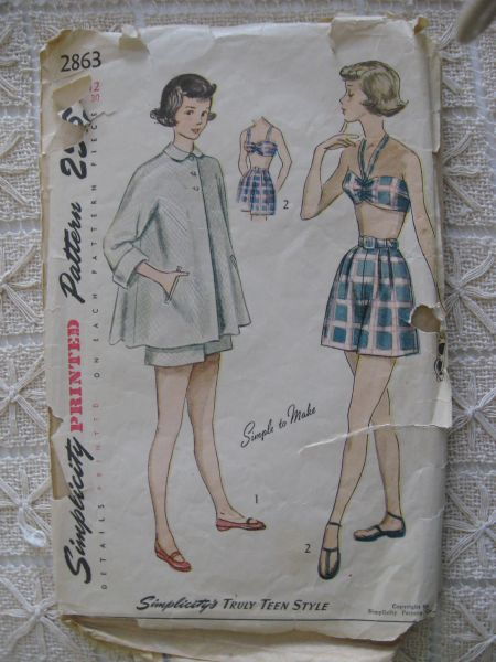 Vintage late 40's Simplicity 2863 Teen Age Three Piece Bathing Suit Ensemble - Bra, Shorts and Beach