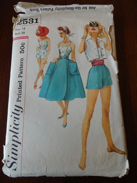 Vintage 50s Misses Top Shorts Jacket and Wrap Around Skirt Pattern size 14 B34