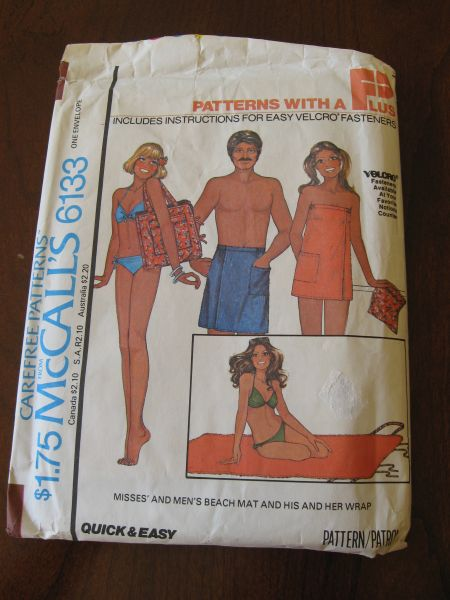 Vintage 70s McCalls 6133 Misses and Mens Beach Mat and  His & Her Wrap Pattern