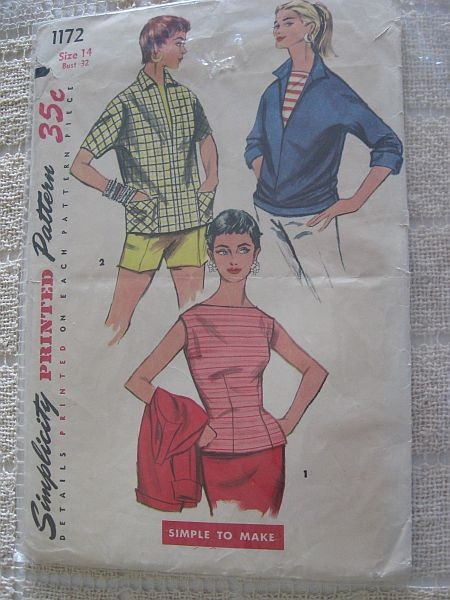 Vintage 50s Simplicity 1172 Misses Blouse and Pullover Shirt Pattern size 14 B 32