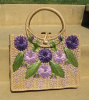 SOLD - Vintage Woven Raffia Straw Floral Purse Beach Bag Tote