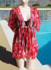 Vintage 70s Red & White ICAT Print Nylon Swimsuit Cover-Up S/M B34